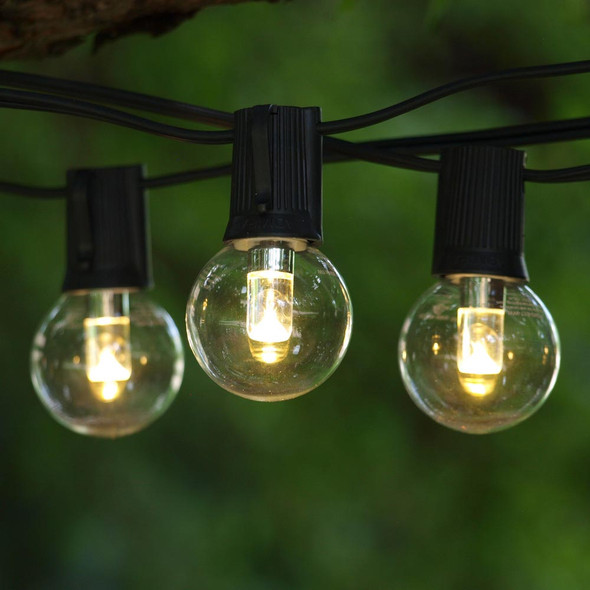 50' Black C9 String Light & LED G40 Professional Bulbs