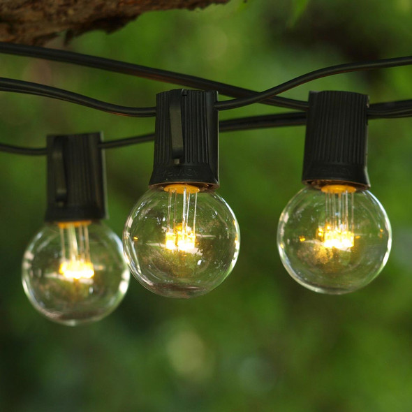 50' Black C9 String Light & LED G40 Premium Bulbs