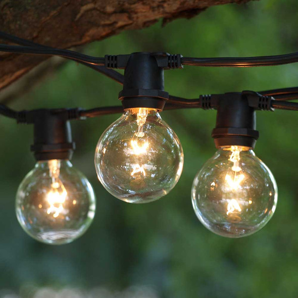 25' Black C9 Commercial Grade String Light with G50 Bulbs