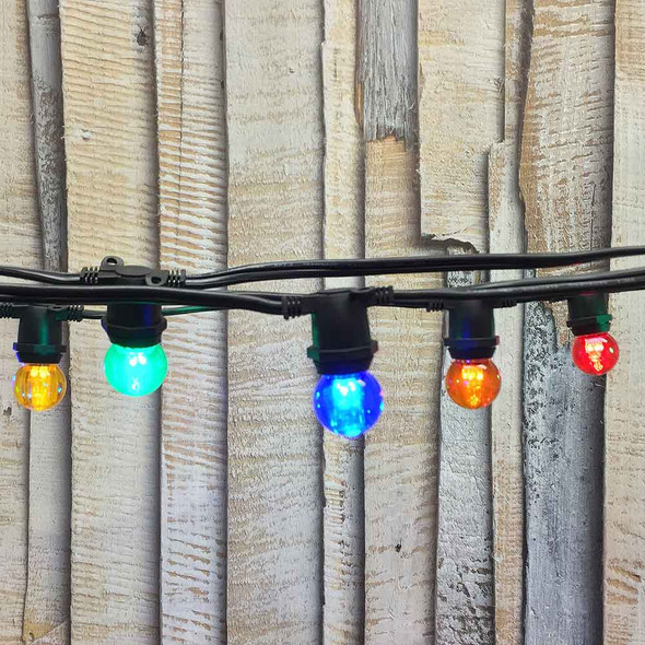25' Black C9 String Light with LED G30 Multi Color Bulbs