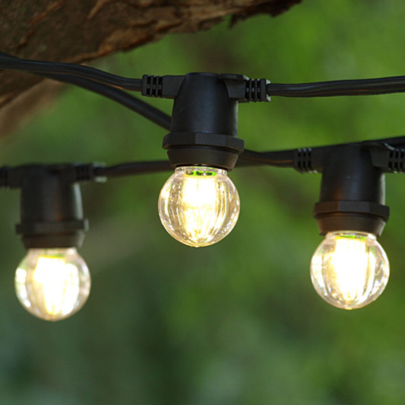 25' Black C9 Commercial Grade String Light with LED G30 Bulbs