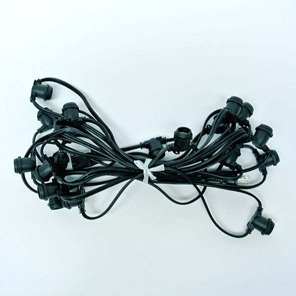 25' Black Commercial C9 String Light Cord