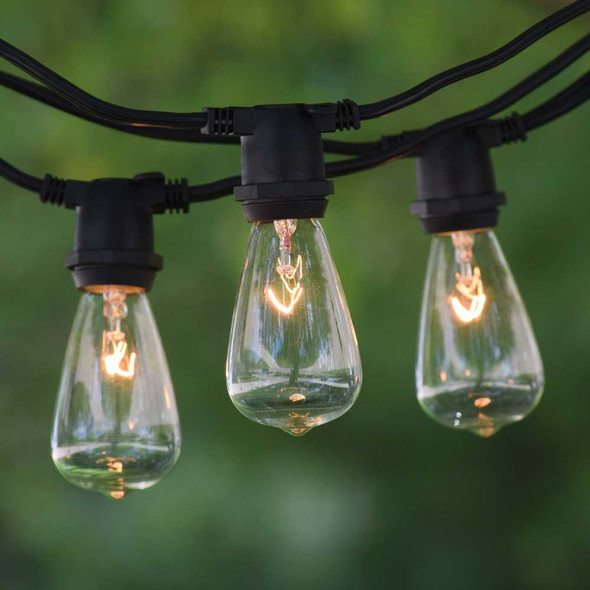50' Black C9 Commercial String Light with C9 Vintage Bulbs