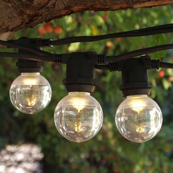 50' Black C9 Commercial String Light with Smooth LED G40 Bulbs
