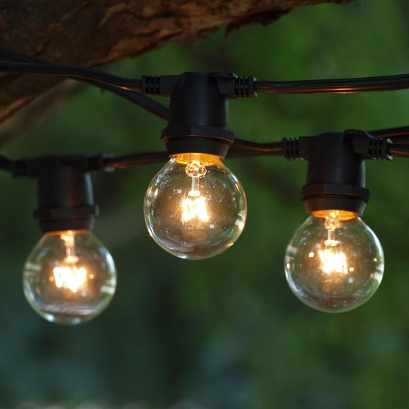 100' Black C9 Commercial String Light with G40 Bulbs