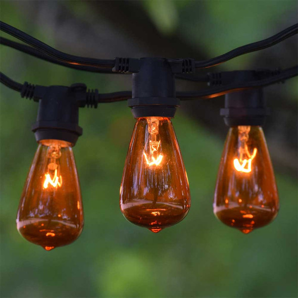 100' Black C9 Commercial String Light with Amber C9 Vintage Bulbs