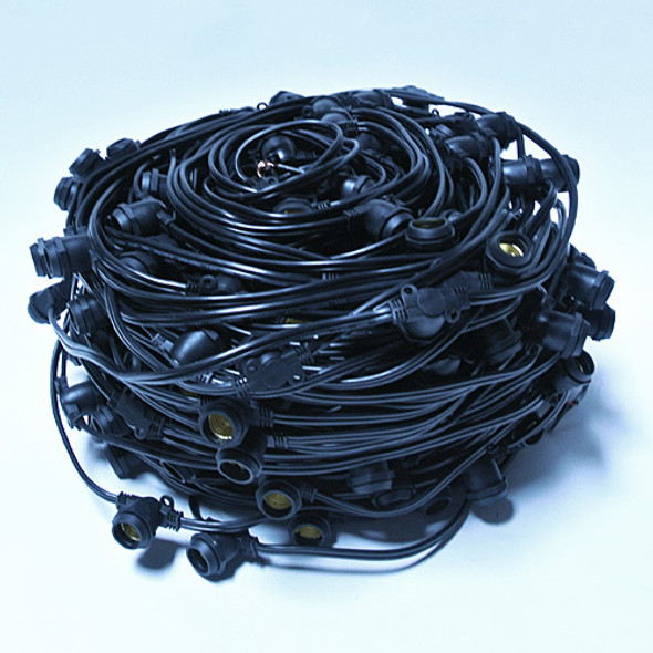 330' Black C9 Commercial String Light Bulk Reel Cord