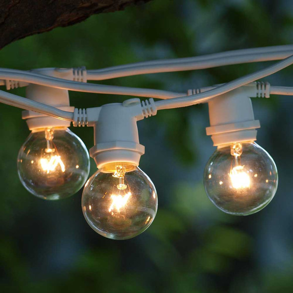 25' White C9 Commercial Grade String Light with G40 Bulbs