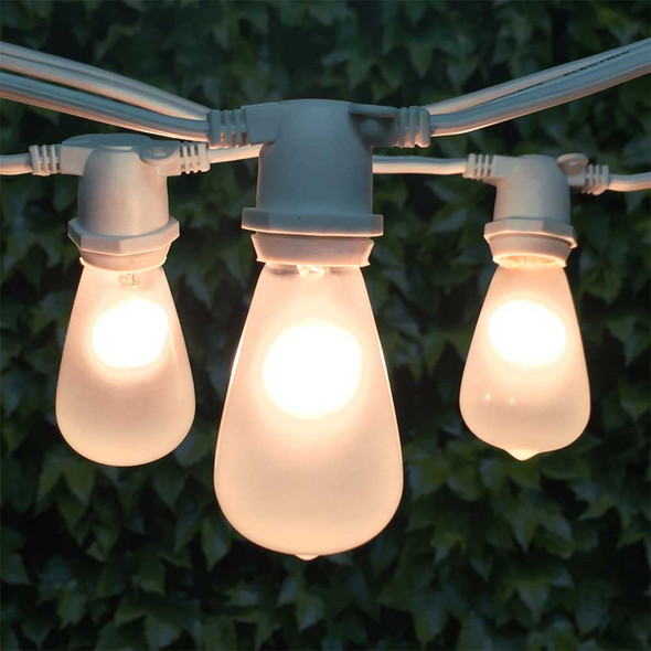 25' White C9 Commercial Grade String Light with Vintage Frosted C9 Bulbs