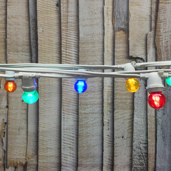 25' White C9 Commercial Grade String Light with Multi Color LED G30 Bulbs
