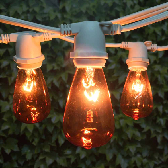 100' White C9 Commercial Grade String Light with Amber C9 Vintage Bulbs