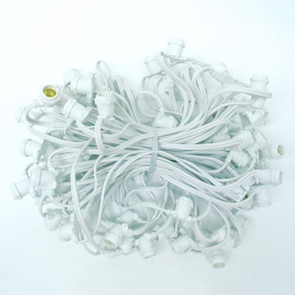 100' White Commercial C9 String Light Cord
