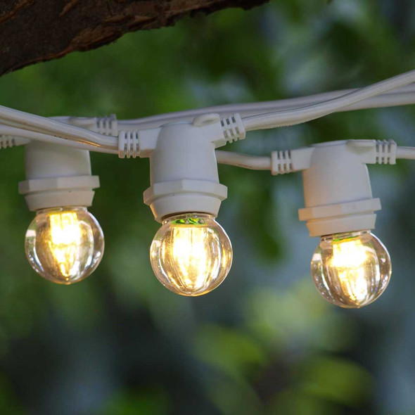 100' White C9 Commercial Grade String Light with LED G30 Bulbs