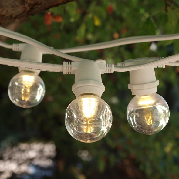 100' White C9 Commercial Grade String Light with Smooth LED G40 Bulbs