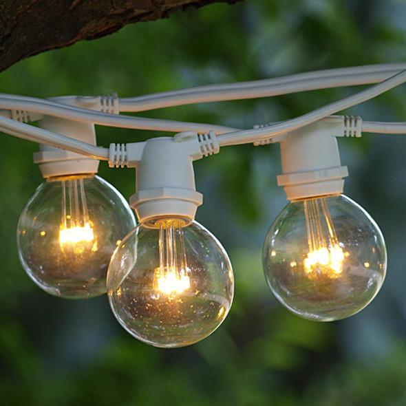 100' White C9 Commercial Grade String Light with LED G50 Premium Bulbs