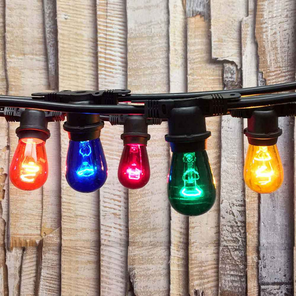 48' Black Outdoor String Light & Multi Color S14 Bulbs
