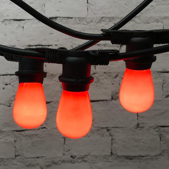 48' Black Commercial String Light & Opaque Orange S14 Bulbs