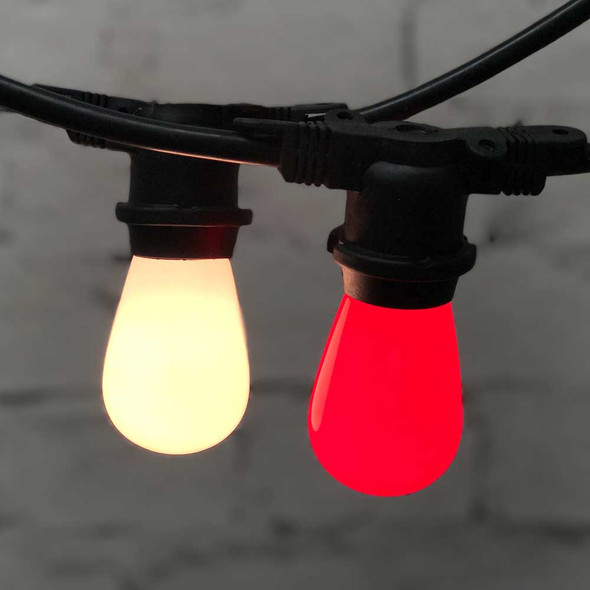 Outdoor Christmas String Light with Opaque Red & White S14 Bulbs