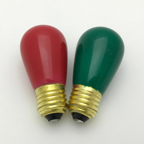 S14 Sign Bulbs - Opaque red and green