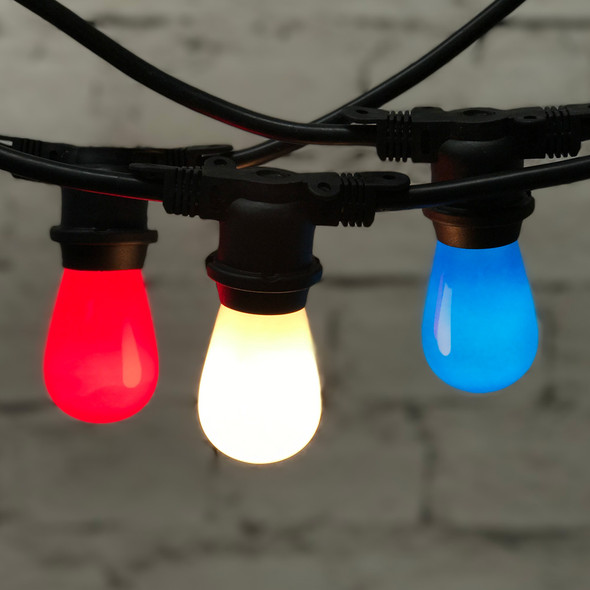 48' Red, White & Blue Outdoor String Lights with Opaque S14 Bulbs