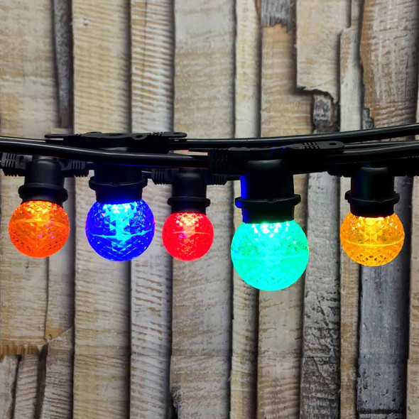 48' Black Commercial String Light & Multi Color LED G50 Bulbs