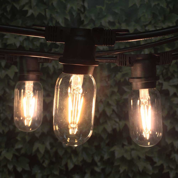 48' Black Vintage String Lights & LED T14 Edison Bulbs