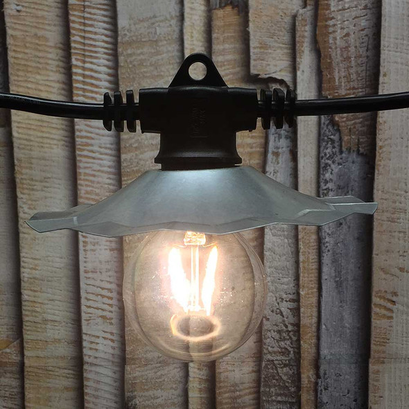 35' European Cafe String Light, Galvanized Shade & LED G80 Vintage Bulbs