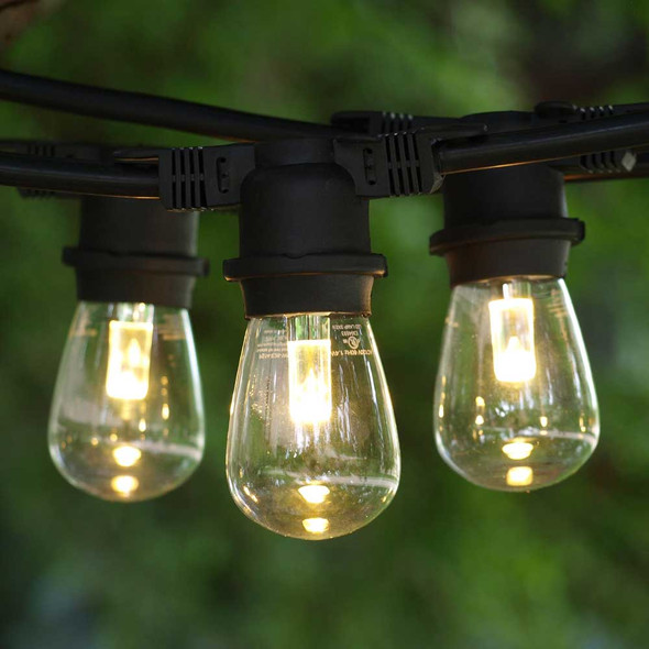 Black Outdoor String Light & Professional LED S14 Bulbs, Warm White