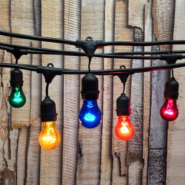 100' Black Commercial String Light, Suspended Socket & Multi Color A15 Bulbs