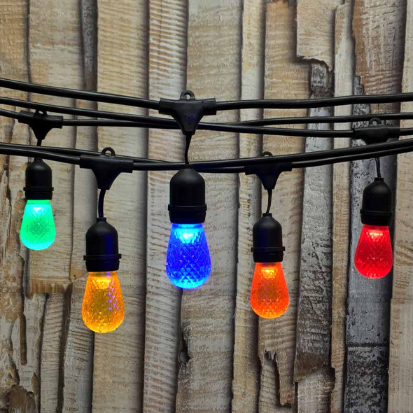 100' Black LED Commercial String Light, Suspended Socket & Multi Color LED S14 Bulbs