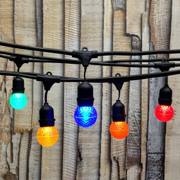 100' Black Commercial String Light, Suspended Socket & Multi Color LED G50 Bulbs