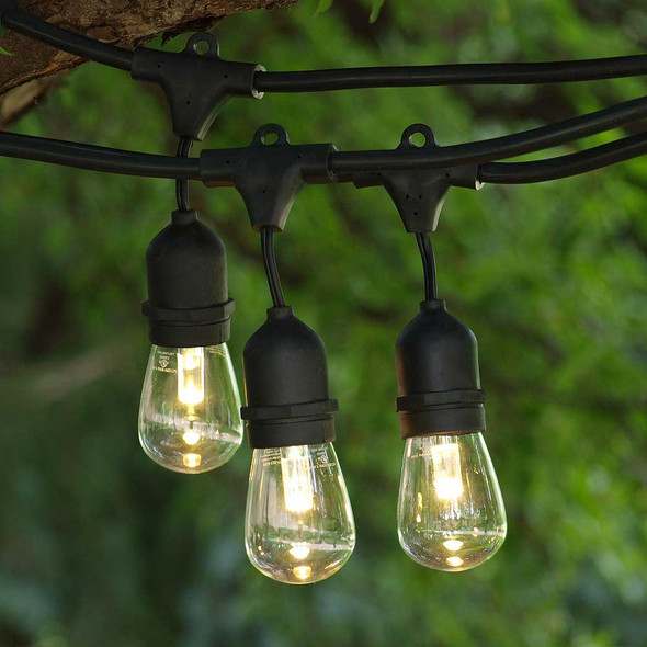 100' Black LED Outdoor String Light, Suspended Sockets & Professional LED S14 Bulbs