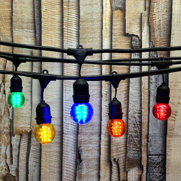100' Black LED Commercial String Light, Suspended Sockets & Multi Color Premium LED G50 Bulbs