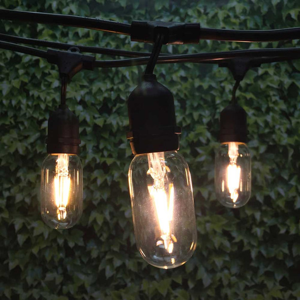 100' Black LED Vintage String Light, Suspended Sockets & LED T14 Vintage Bulbs