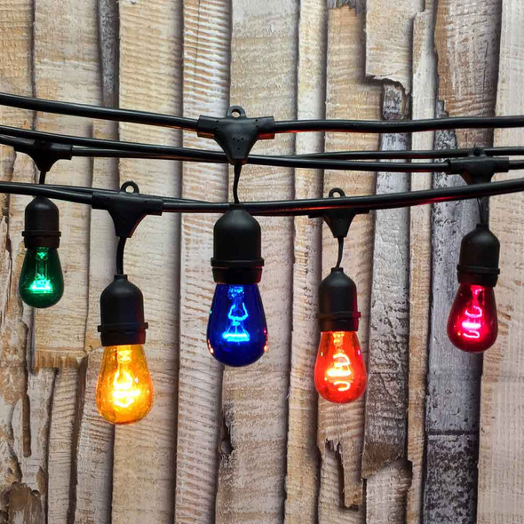 48' Black Commercial String Light with Suspend Socket & Multi Color S14 Bulbs
