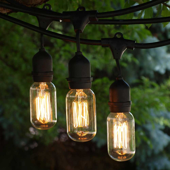 48' Black Vintage String Light with Suspend Socket & T14 Bulbs