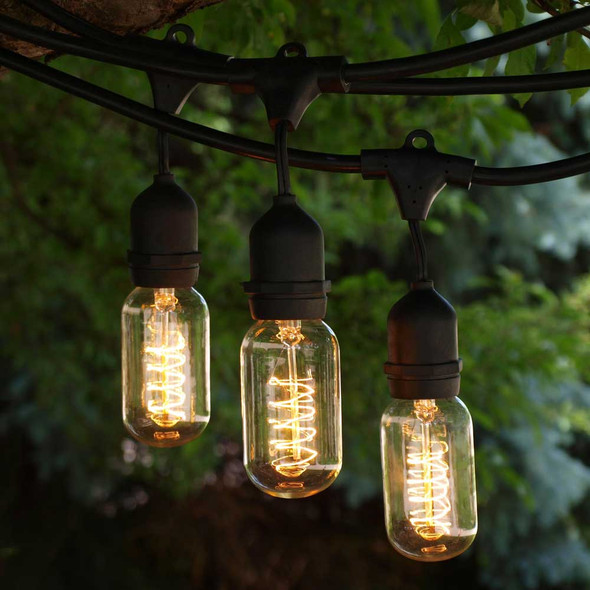 48' Black Commercial String Light with Suspend Socket & Vintage Spiral T14 Bulbs