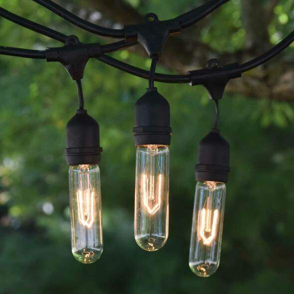 48' Black Vintage String Light with Suspend Socket & Vintage T9 Bulbs