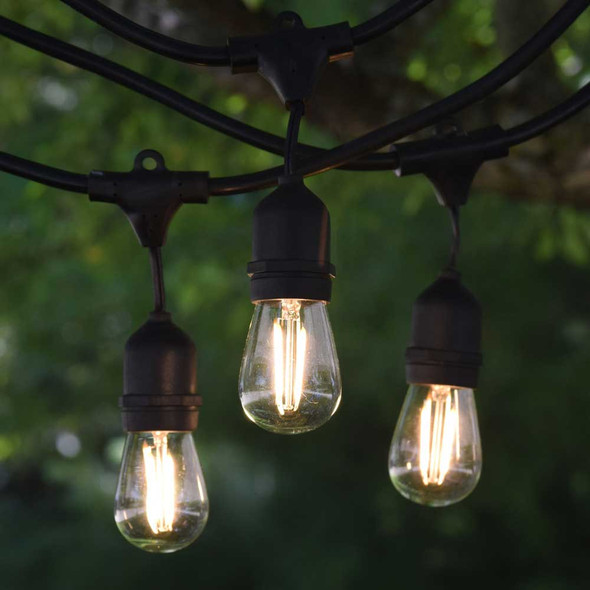 48' Black LED Commercial String Light, Suspended Socket & Plastic LED S14 Vintage Bulbs
