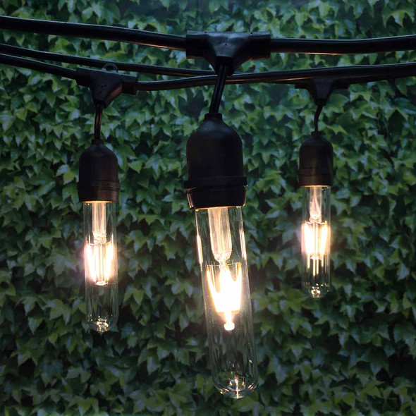 48' Black LED Commercial String Light, Suspended Socket & LED Vintage T9 Bulbs