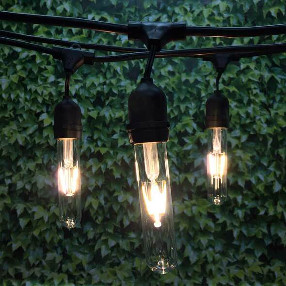 48' Black LED Commercial String Light, Suspended Socket & LED Vintage T9 Bulbs