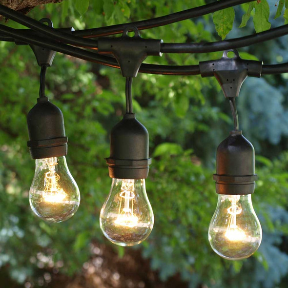 330' Black Commercial String Light, Suspended Sockets & A5 Bulbs