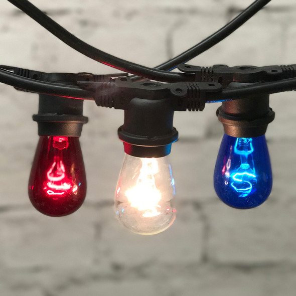100' Black Patriotic Outdoor String Light with Red, White & Blue S14 Bulbs