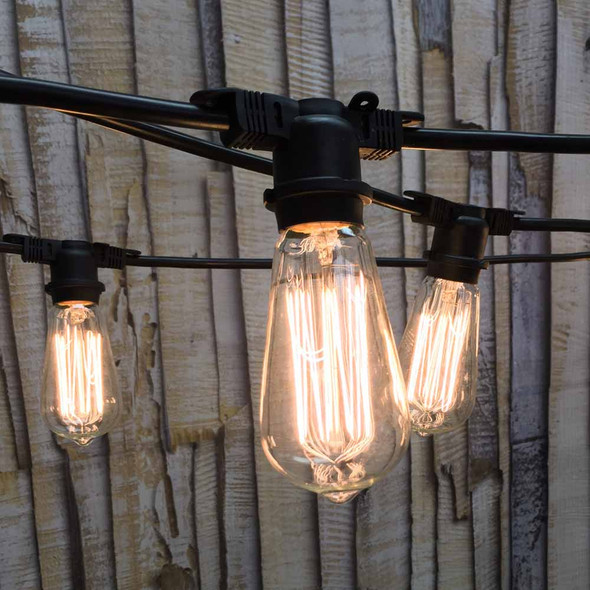 100' Black Vintage Outdoor String Lights with ST58 Edison Bulbs