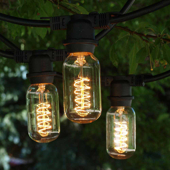 100' Black Vintage Commercial String Lights with Spiral T14 Edison Bulbs