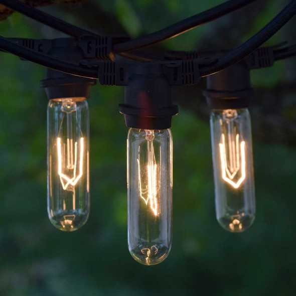 100' Black Vintage Outdoor String Lights with T9 Tube Edison Bulbs