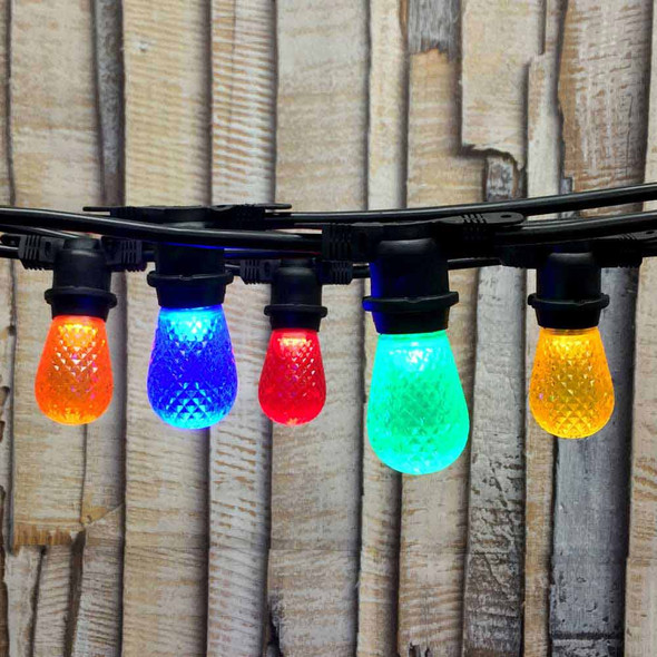 100' Black LED Commercial String Light with Multi Color LED S14 Bulbs