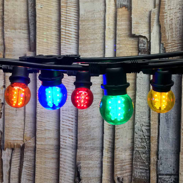 100' Black LED Commercial String Light & Multi Color LED G50 Premium Bulbs