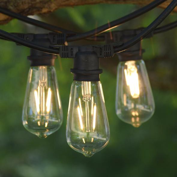 100' Vintage String Lights & Edison style LED ST58 Bulbs