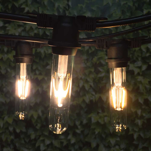 100' Black Vintage String Light & LED T18 Vintage Bulbs